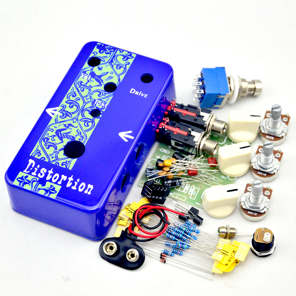 NEW DIY Guitar Distortion Pedal kit deep Blue Distortion Electric Guitar Effect Pedal True Bypass +  High-quality 1590B case diy overdrive guitar effect pedal kit true bypass with 1590b box for electric guitar stompbox pedals od1 kits
