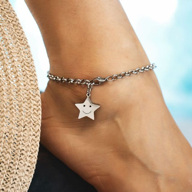 d4e29e648 1PC New Arrival Bohemian Star Pendant Anklets Foot Chain Anklet Bracelets  For Women Summer Beach Fashion Jewelry Brincos