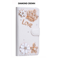 Luxury Girl Lady Fashion Diamond Crown of Love Case For iPhone X Flip Rhinestone Wallet Leather Handmade Cover For iPhoneX