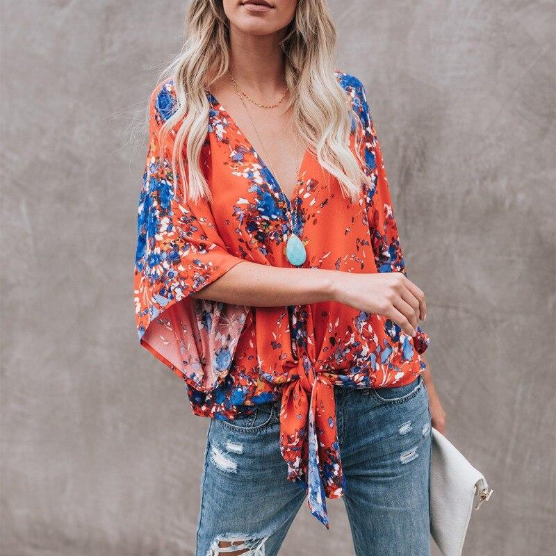 Women Blouses Autumn Long Sleeve V Neck Floral Print Blouse Elegant Party Vintage Female Tops Blusas