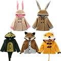Дети Новорожденных Девочек Мальчиков Милые Животные Косплей Кролик Лиса С Капюшоном Пальто Теплая Куртка И Пиджаки Snowsuit