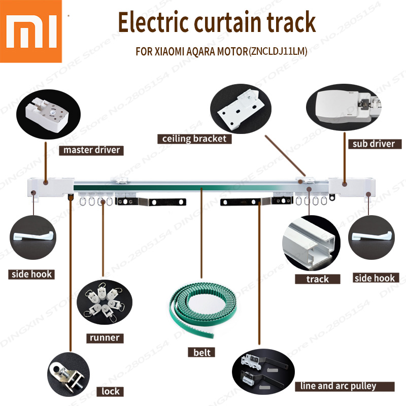 Electric Curtain Track Super Silent  for xiaomi Aqara Motor,Automatic Curtain Rails Ceiling mounting for smart home