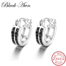 [BLACK AWN] Vintage 925 Sterling Silver Earrings Black Spinel Hoop for Women Fine Jewelry Bijoux I019