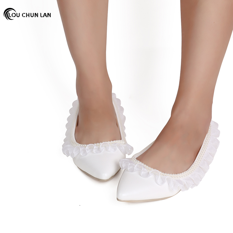 LOUCHUNLAN Shoes Women's Shoes Flats White Ruffles Wedding Shoes Pointed Toe Double Pearls Chains Bride Shoes bridesmaid