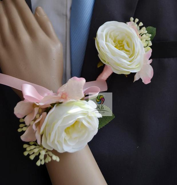 Wedding Flowers Boutonniere: Real Touch White Light Pink Rose Wedding Flowers Bride