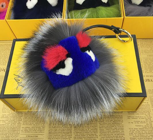 New year gift monster Dolls fur ball Pom pom Key chains keyrings car charm golf bag  Pendant chain keychain Woman bag handbag