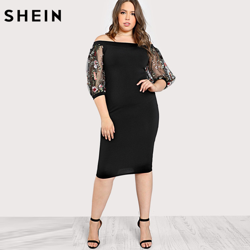060c2beb144c8 SHEIN Black Plus Size Party Summer Dress Off the Shoulder Bardot Pencil  Dress Embroidered Mesh Sleeve Large Sizes Sexy Dress -in Dresses from  Women's ...