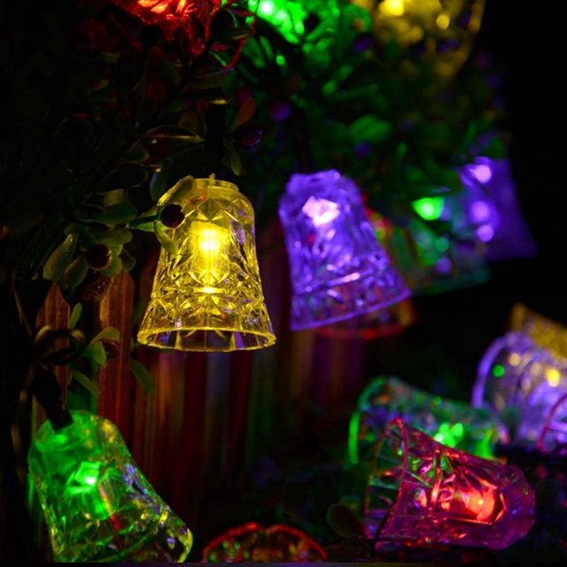 solar lamps 25ft 40leds jingle bell shape decoration string lights fairy waterproof garden outdoor christmas led