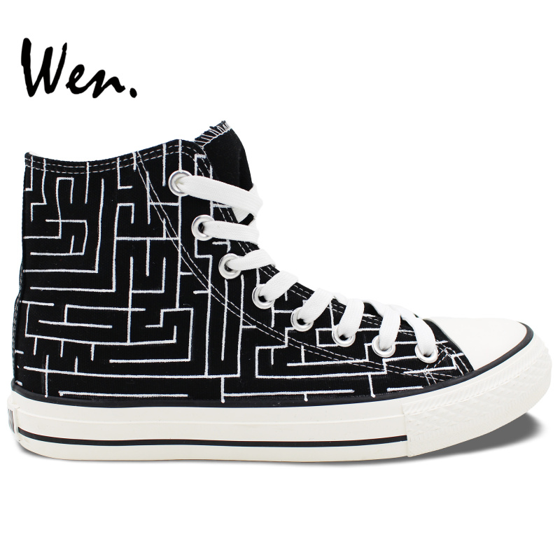 ФОТО Wen Original Black Hand Painted Shoes Design Custom Labyrinth Maze Men Women's High Top Canvas Sneakers for Gifts