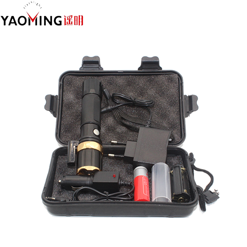Red Laserpointer Cree Q5 2000lm Zoomable Police Led Flashlight High Power Torch Lamp Camping Light+18650 Battery+charger Lights & Lighting
