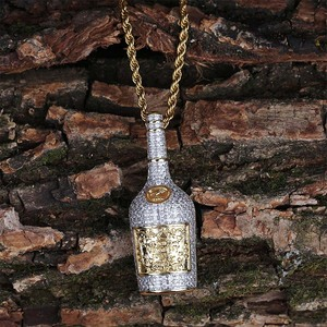 Image 4 - Champagne Bottle Pendant Necklace Mens Charms Jewelry With Tennis Chain Gold Silver Color Chains Necklace Hip Hop Jewelry Gift