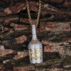 Image 4 - Collier avec pendentif bouteille de Champagne pour hommes, avec chaîne de Tennis, chaîne couleur or argent, style Hip Hop, idée cadeau, bijoux, collection bijoux à breloques
