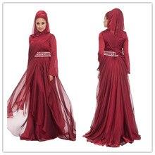 New Fashion 2015 Caftan Burgundy Hijab Underscarf Dubai Moroccan Kaftan Muslim Evening Dress Long Sleeve Maxi Dress(MUSL-1080)