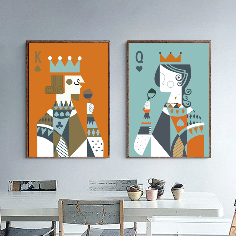 Kings Home Decor: Queen King Of Poker Home Decor Canvas Painting Wall Art