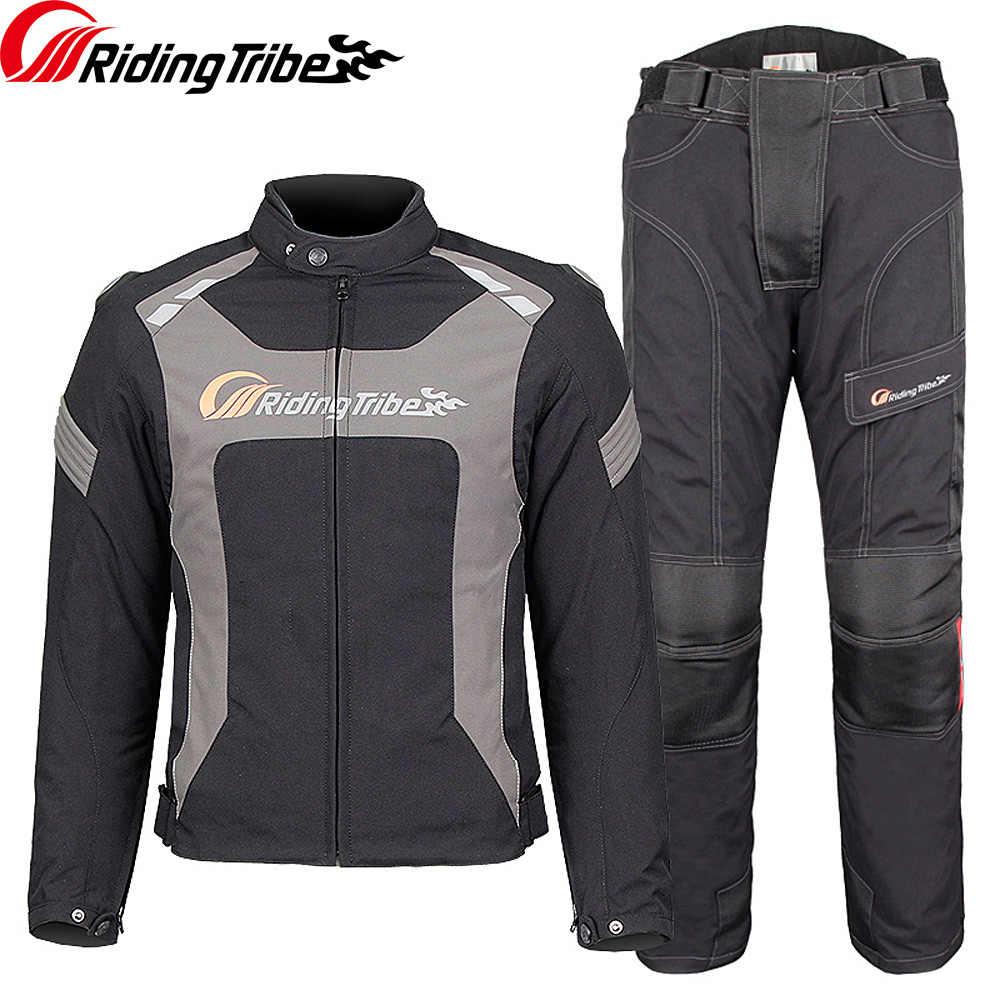 Riding Tribe motocicleta chaqueta pantalones impermeable verano invierno pareja traje protector Moto Rider cuerpo armadura ropa de seguridad JK-56