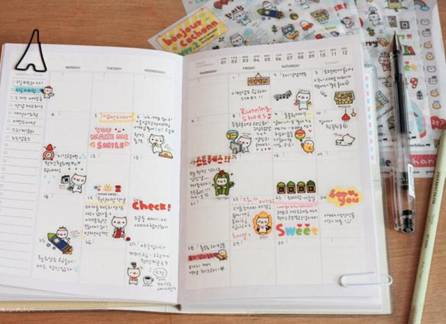 Diy Calendar Diary : Sheets lot diy sticker planner calendar book lovely paper