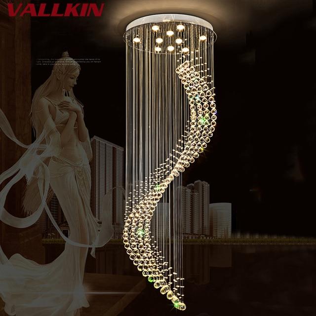 K9 Crystal Stair LED Chandeliers Modern Artistic Spiral Suspension Lightings Restaurant Hotel Villa Lobby Large Hanging Lamp