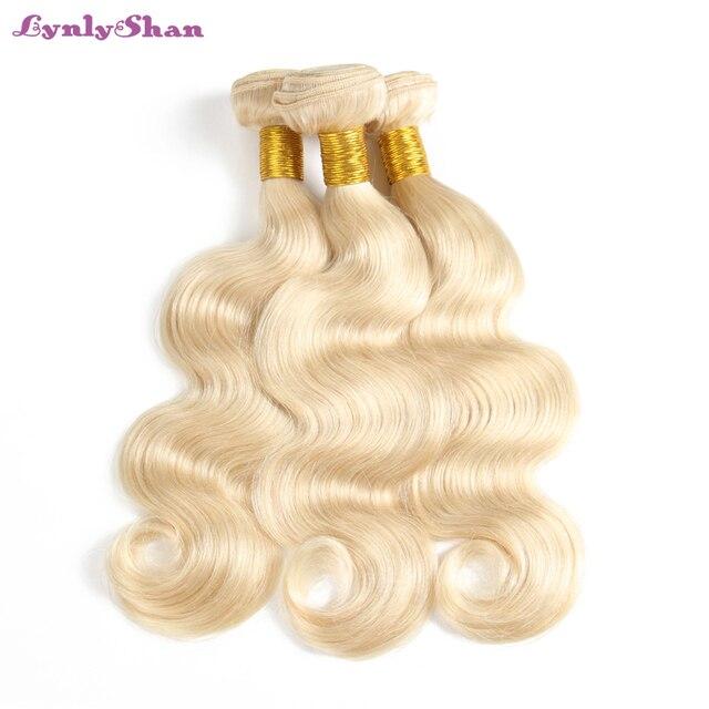 בלונד שיער הרחבות פרואני שיער טבעי וויבס גוף גל שיער 3 חבילות Lynlyshan רמי שיער 613 # בלונד חבילות 10- 30 אינץ