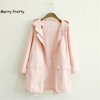 MERRY PRETTY Autumn Women Jacket Japanese Style Mori Girl Solid Color Casual Loose Hooded Female Outerwear