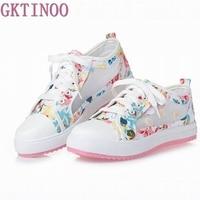 Summer Women Shoes Casual Cutouts Lace Canvas Shoes Floral Breathable Platform Flat Shoe Sapato Feminino