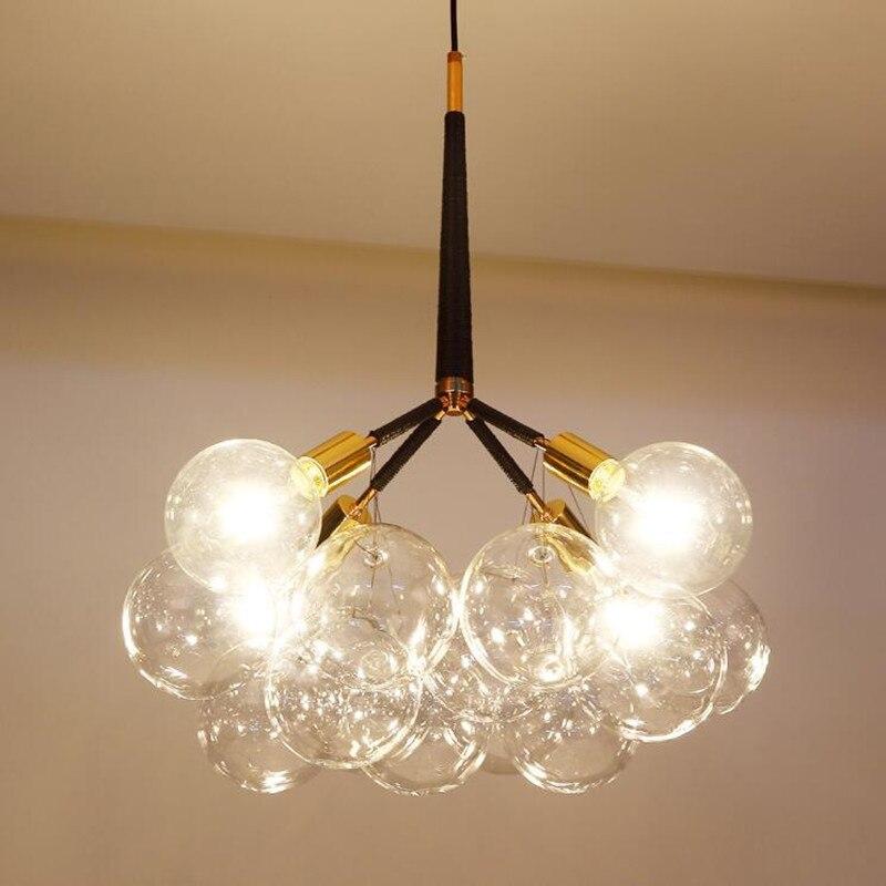 Nordic Postmodern Glass Bubble Ball LED Chandelier Creative Simple Round Shape Bedroom Living Room Restaurant Art Light Fixture