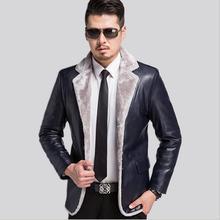 Free Shipping! 2016 Winer Hot Sale Men's jackets Genuine Leather Aviator Jacket Men Warm Leather Coat Bomber Jacket M-3xl Blue