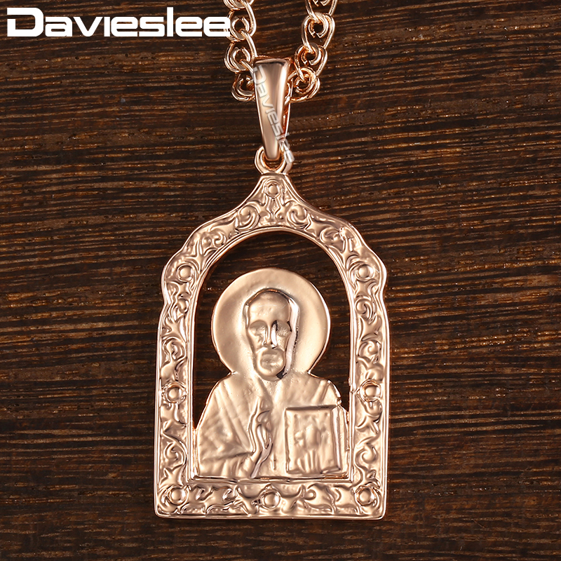Davieslee Necklace For Women Men 585 Rose Gold Filled Virgin Mary Jesus Pendant Necklace Womens Jewelry DGP193