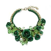 2014 New Design Spring Gold Chain Spray Paint Metal Flower Resin Beads Rhinestones Crystal Bib Necklace