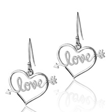 Dormith free shipping  womens 925 sterling silver drop earrings- The Arrow Of Love plated
