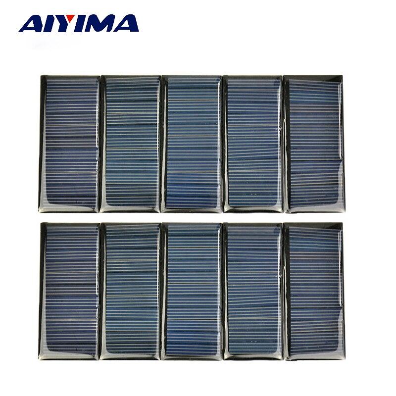 AIYIMA 10Pc Poly Solar Panel 80x35MM 5.5V 65MA Solar Panel China DIY Battery Charger