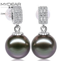 MYDEAR Pearl Jewelry Gold Real 100 10 11mm Tahitian Pearl Stud Earrings Perfectly Round High Luster