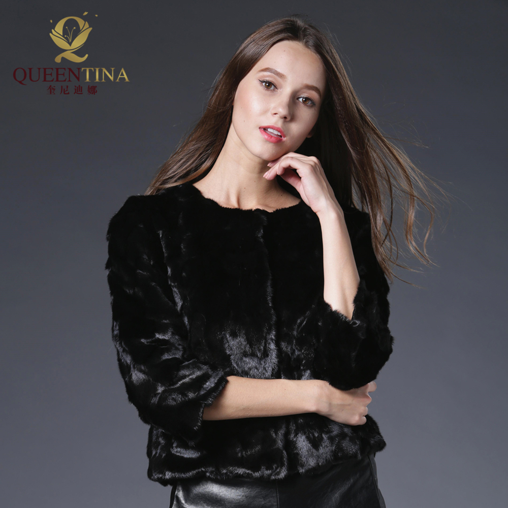 2018 սև բնօրինակ խոզանակ մորթյա - Կանացի հագուստ - Լուսանկար 5