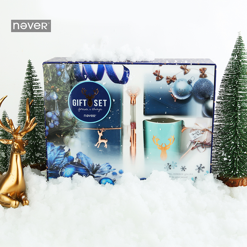 NEVER Christmas Series Stationery Set gift sets Diary notebook planner Ball pen mug Chancellory student school & office suppliesNEVER Christmas Series Stationery Set gift sets Diary notebook planner Ball pen mug Chancellory student school & office supplies