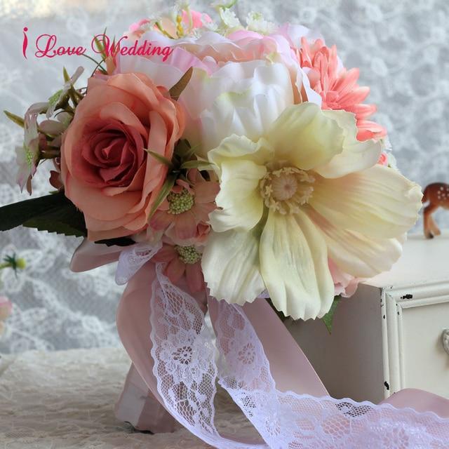 Romantic Pink Wedding Bouquet Silk Flowers Handmade Artificial Bridal Bouquets with Lace Satin Ribbon bouquet de mariage CH03