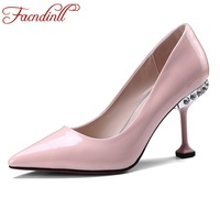 FACNDINLL Shoes Genuine Leather Women Pumps New Sexy High Thin Heels Pointed Toe Black Red Crystal