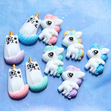 wholesale Kawaii Resin Unicorn hair accessories Flat Back Cabochon DIY Decoration Accessories lots bulk