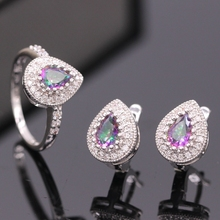 GZJY Noblest Jewelry Set WaterDrop Rainbow Zirconia Gold Color Ring Earrings Set For Women Birthday Gift 3colors