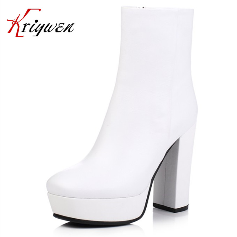 Cowhide soft leather New Winter Women dress party shoes Black white High Heel Martin Boots platforms punk Ankle Motorcycle Boots 2016 new winter women black high heel martin ankle boots buckle gothic punk motorcycle combat boots shoes platform free shipping