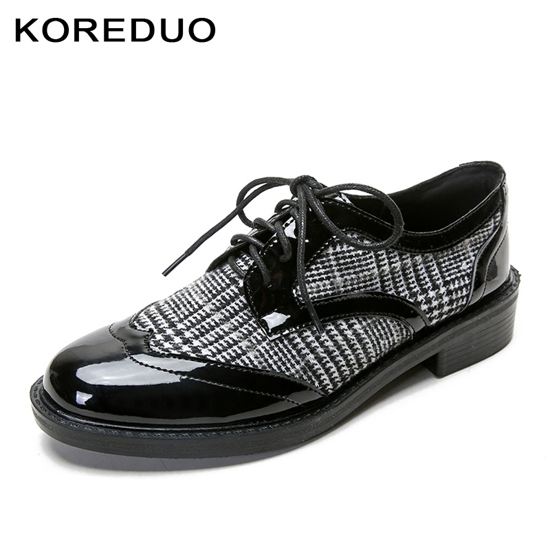 KOREDUO New 2018 Grid Women Shoes British Vintage Style Round Toe Loafers Women Lace up Thick Heels Flats Plus Size34-41 msw xiaying smile woman pumps shoes women spring autumn wedges heels british style classics round toe lace up thick sole women shoes