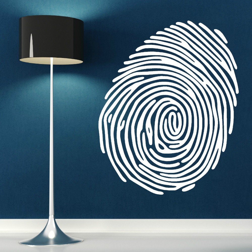 Large Fingerprint Wall Art Sticker Vinyl Room Decal Finger Print Muder Mystery Cid Removable Wallpaper Mural Vinilos Parede D409