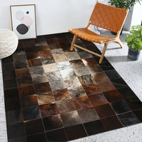 American style luxury natural brown color cowhide patchwork rug , big size milch cow skin fur chequer carpet for living room