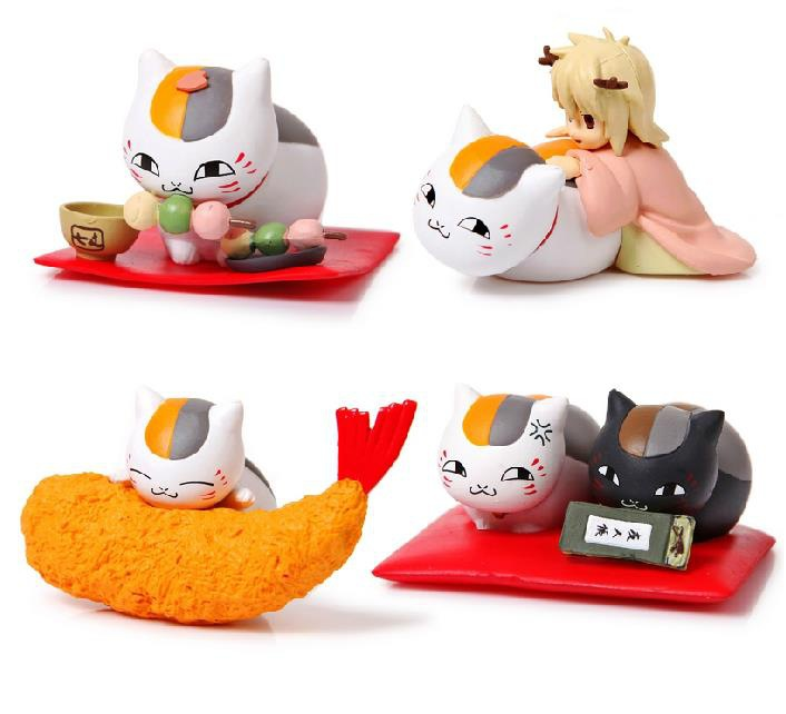 NEW hot 6cm 4pcs/set Natsume Yuujinchou Natsume's Book of Friends Nyanko-sensei collectors action figure toys Christmas with box new hot 16cm natsume yuujinchou cat nyanko sensei action figure toys collection christmas gift