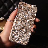 Handmade Luxury Bling Crystal Rhinestone Back Case For Samsung Galaxy S3 S4 S5 S6 S7 Edge