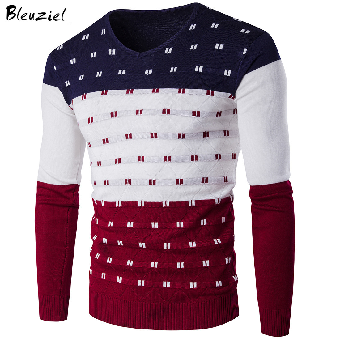 Bleuziel 5 Colors Striped Sweater Men Warm Long Sleeve V Neck Winter Clothes For Male Fashion Slim Fit Print Pullover Sweater