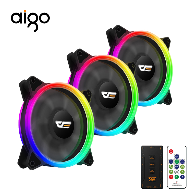 Aigo DR12 pro 120mm PC Case Fan Cooling Remote Wireless Controller Cooler Double Ring Adjustable LED Changeable Color RGB  Fans