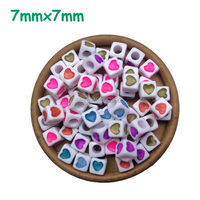 Colorful Heart Beads 7mm 1900pcs Alphabet acrylic beads mix Colors letters beads jewelry square cube Heart beads with big hole