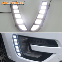 JAZZ TIGER Turn Yellow Signal Function Waterproof ABS 12V Car LED DRL Lamp LED Daytime Running Light For Ford Explorer 2016 2017