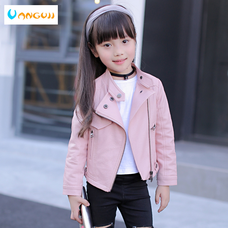 girls pu jacket rivet zipper cool jacket Leather clothing for girls 5-13 years oldClassic collar zipper leather motorcycle stand collar zipper plain mens thicken pu jacket