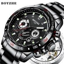 BOYZHE Men Automatic Mechanical Watch Sports Fashion Luxury Brand Military Stainless Steel Waterproof Watches Relogio Masculino стоимость
