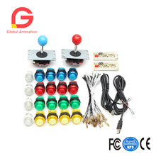 цена на 20 pcs 5V LED Arcade Full Color Switch Push Button 2 USB Encoder 2 Joysticks DIY Kit